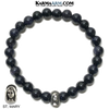 Saint Mary Meditation Mantra Yoga Bracelets. Mens Wristband Jewelry. Blue Goldstone.