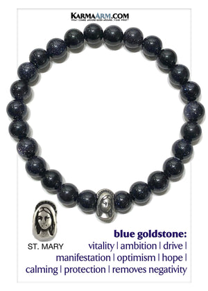St. Mary Virgin Mother Meditation Mantra Yoga Bracelets. Mens Wristband Jewelry. Blue Goldstone.