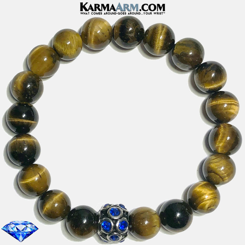 Sapphire Blue Tiger Eye  Meditation Mantra Yoga Bracelets. Mens Self-care wellness Wristband Jewelry. 10mm.