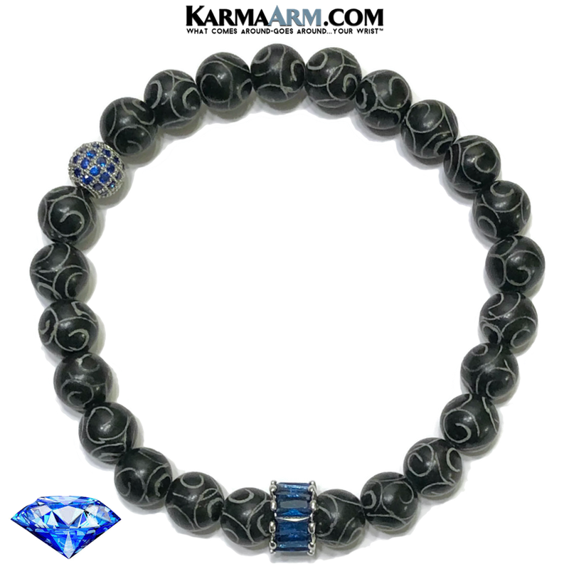 Sapphire Blue Diamond Mindful Meditation Self-Care Wellness  Yoga Bracelets. Mens Wristband Jewelry. Black Jade. Hand Carved.