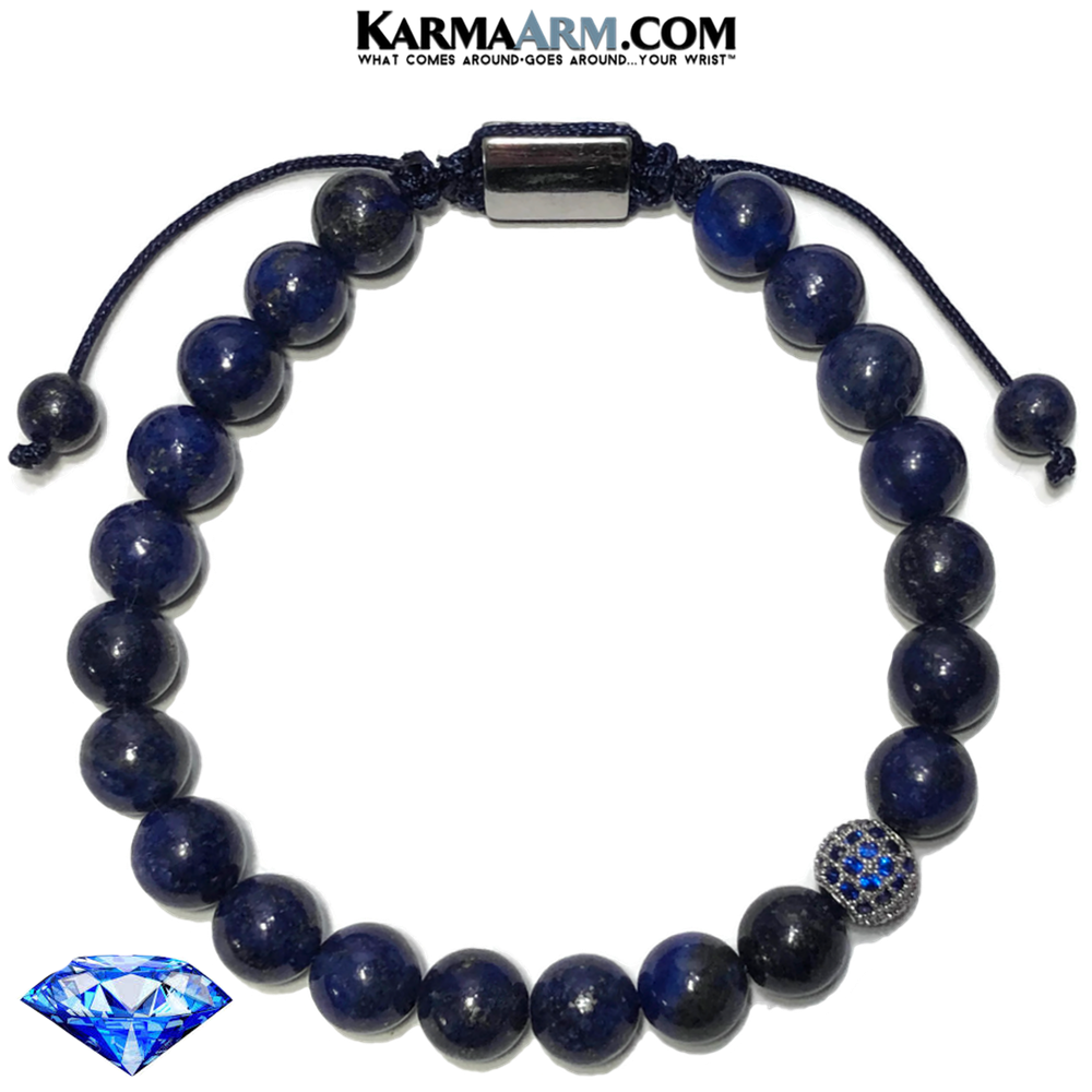 Sapphire Diamond Wellness Meditation Mantra Yoga Bracelets. Mens Wristband Jewelry. Lapis.