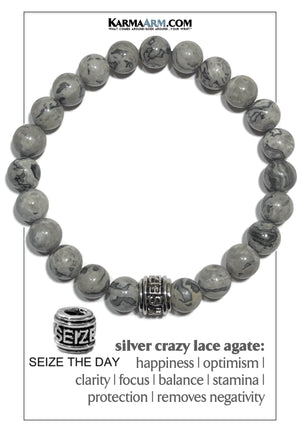 Carpe Diem Courage Meditation Mantra Yoga Bracelet. Self-Care Wellness Wristband Jewelry. Crazy Lace Agate.