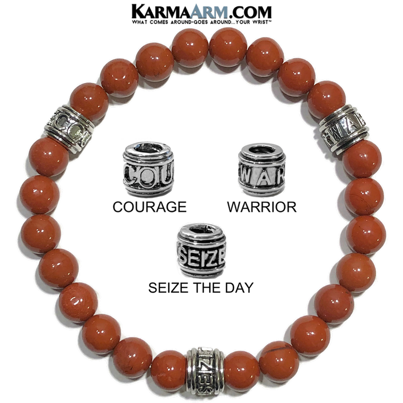 Seize The Day Warrior Courage  Meditation Mantra Yoga Bracelet. Self-Care Wellness Wristband mens Jewelry. Red Jasper.