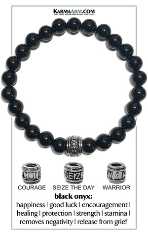 Seize the day Wellness Self-Care  Meditation Yoga Bracelets. Mens Wristband Jewelry. Black Onyx.