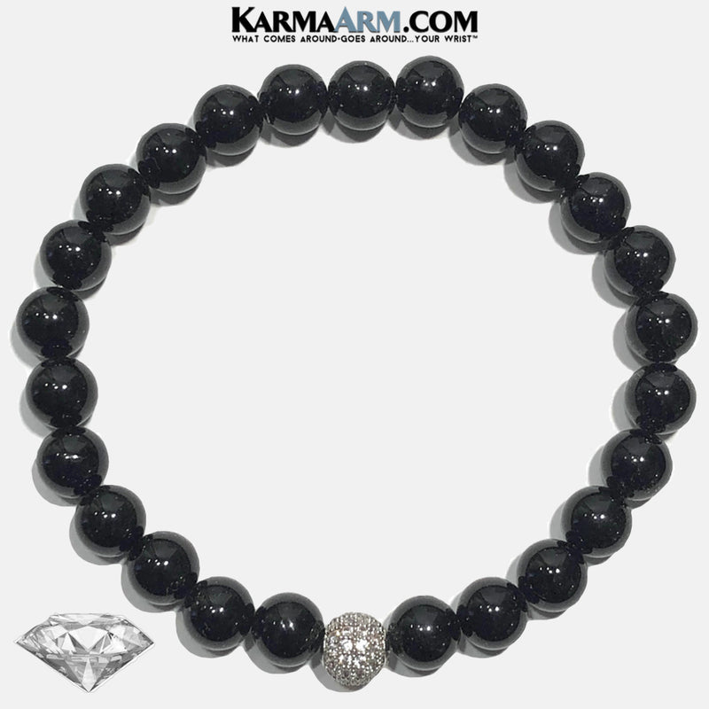 Self-Care Wellness Meditation Yoga Bracelets. Mens Wristband Jewelry. Black Onyx. Pave Ball.