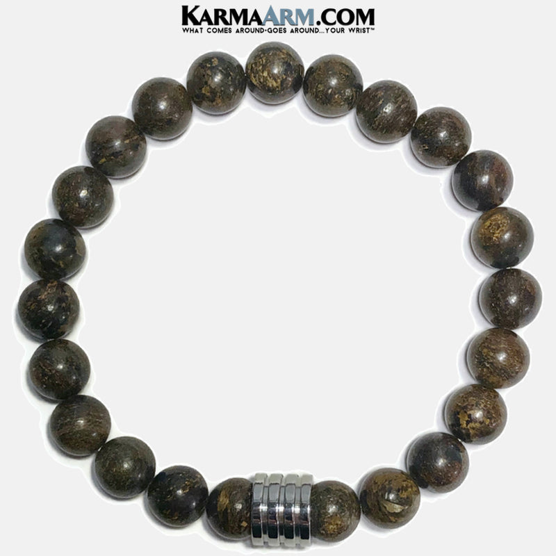 URBAN WARRIOR | Bronzite | Stainless Steel Grooved Bead Bracelet