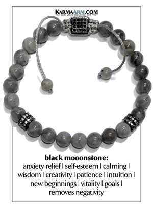 Self-Care Meditation Mantra Yoga Bracelets. Mens wellness Wristband Jewelry. Black Moonstone.