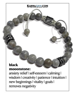 Self-Care Meditation Mantra Yoga Bracelets. Mens wellness Wristband Jewelry. Black Moonstone.  copy