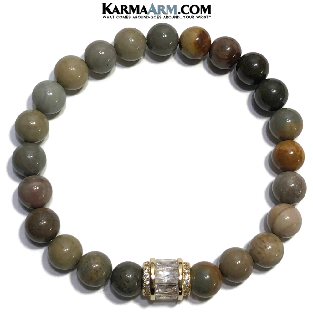 Self-Care Meditation Wellness Yoga Bracelets. Mens Wristband Jewelry. Ocean Jasper.