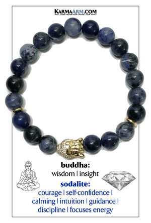 Buddha Wellness Self-Care Meditation Mantra Yoga Bracelet. Wristband Sodalite.
