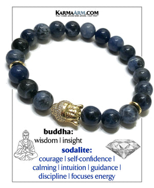 Self-Care Wellness Meditation Mantra Yoga Bracelet Wristband Sodalite.