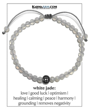 Self-Care Wellness Meditation Mantra Yoga Bracelet Wristband White Jade. CZ Diamond Ball.