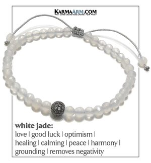 Wellness Self-Care Meditation Mantra Yoga Bracelet. Wristband White Jade. CZ Diamond Ball.