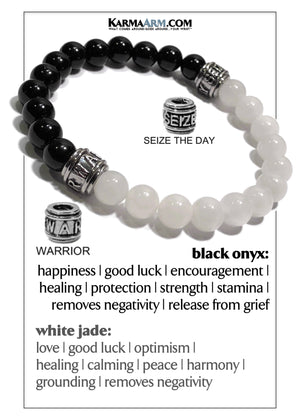 Self-Care Wellness Meditation Mantra Yoga Bracelet Wristband White Jade.  copy