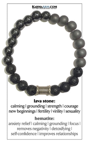 Self-Care Wellness Meditation Mantra Yoga Bracelets. Mens Wristband Jewelry. Hematite Lava .