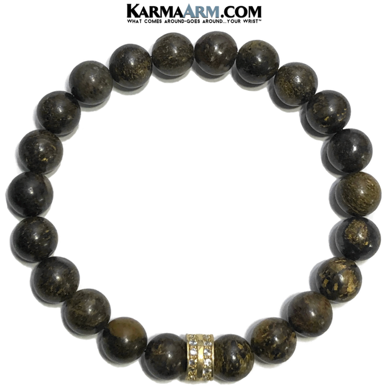 Self-Care Wellness Meditation Yoga Bracelets. Mens Wristband Jewelry. Bronzite.