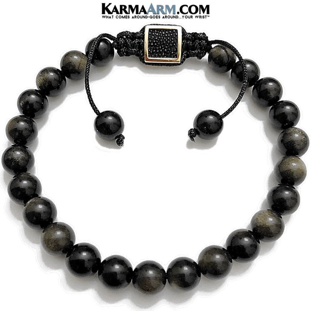 Self-Care Wellness Meditation Yoga Bracelets. Mens Wristband Jewelry. Golden Obsidian.