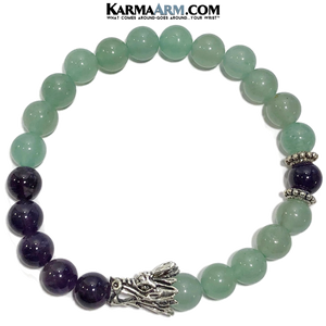 Self-Care Wellness Yoga Bracelets. Dragon Jewelry. Meditation Zen Beaded Bracelet. Amethyst Green aventurine.