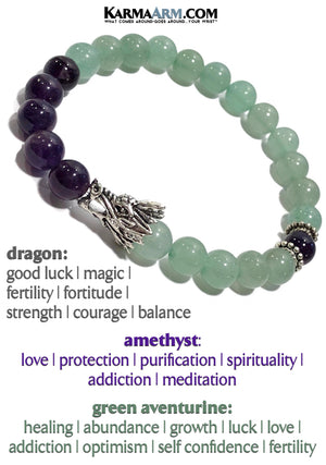 Dragon Bracelet. Self-Care Wellness Yoga Jewelry. Meditation Zen Beaded Bracelet. Amethyst Green aventurine.