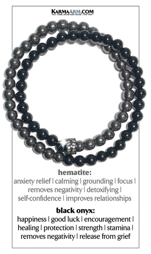 gifts for him Self-Care wellness Meditation Yoga Bracelets. Mens Wristband Jewelry. Black Onyx. Hemstite.