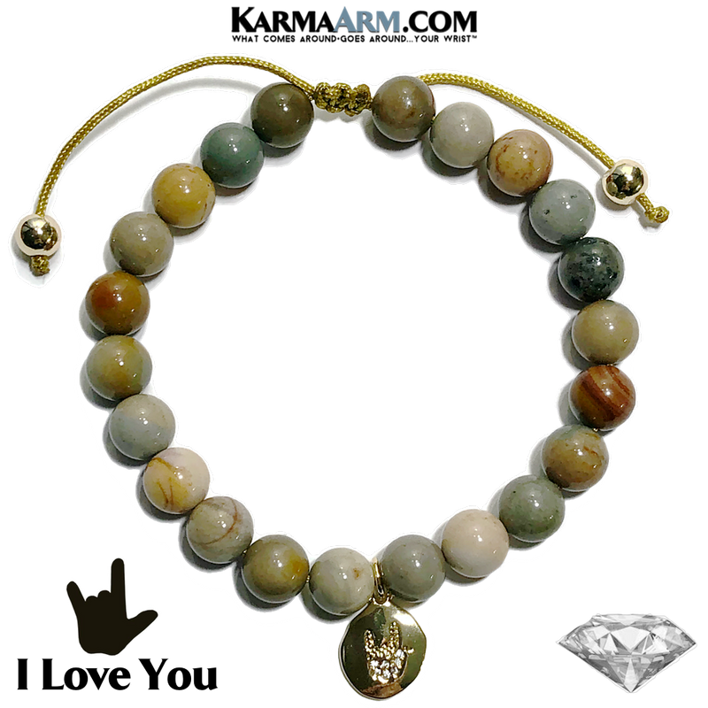 Sign Language I Love You Charm Self-Care Meditation Wellness Yoga Bracelets. Mens Wristband Jewelry. Ocean Jasper.