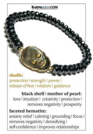 FEARLESS | Hematite | Mother of Pearl Skull Bracelet