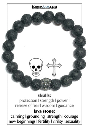 Skull Cross Meditation Mantra Yoga Bracelets. Mens Wristband Jewelry. Lava.