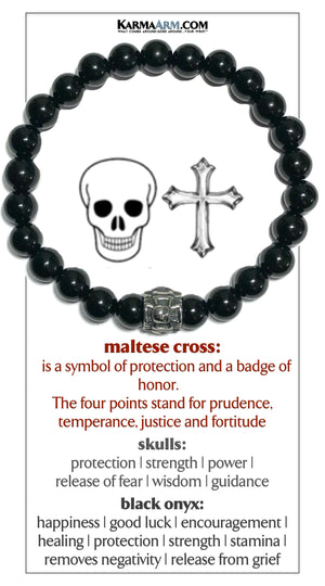 Skull Maltese Cross Meditation Mantra Yoga Bracelets. Mens Wristband Jewelry. Black Onyx.