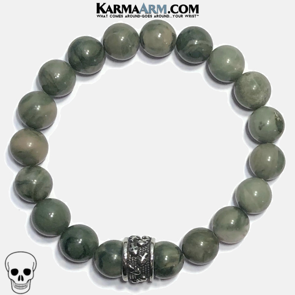Skull Meditation Mindfulness Mantra Yoga Bracelets. Self-Care Wellness Wristband Jewelry. Green Line Jasper. copy 5