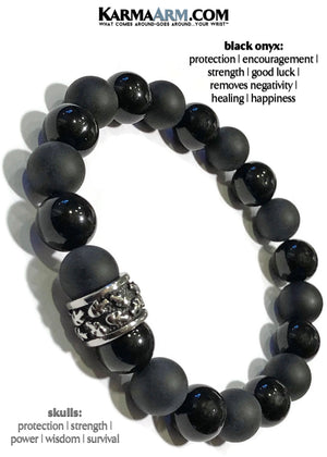 Skull Jewelry. Mens Beaded Yoga Bracelets. BoHo Reiki Healing Meditation Jewelry. Black Onyx.