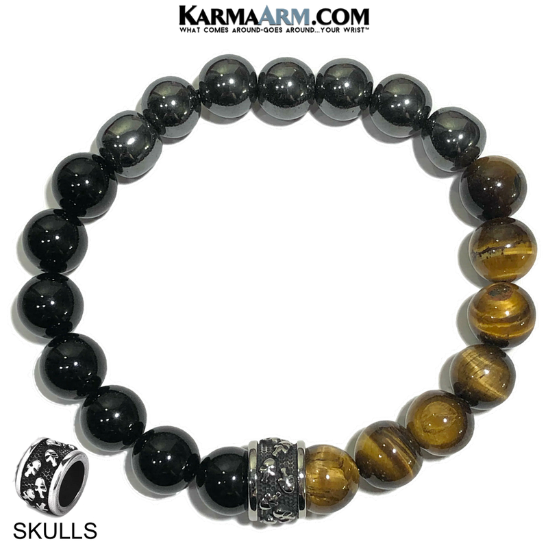 Skull Meditation Mantra Yoga Bracelets. Mens Wristband Jewelry. Tiger Eye Onyx Hematite.