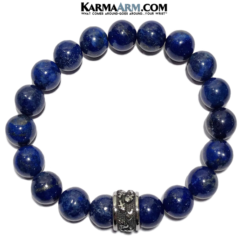 Skull Yoga Meditation bracelets. self-care wellness mens bead wristband jewelry. Lapis.