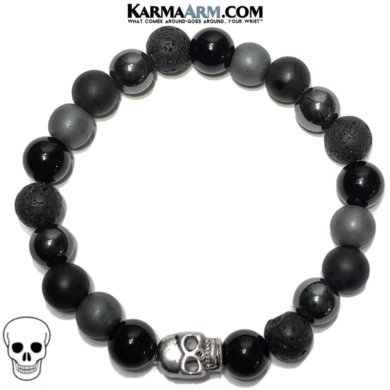 Skull Punk Meditation Self-Care Wellness Mantra Yoga Bracelets. Mens Wristband Jewelry. lava Onyx Hematite.