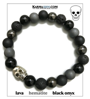 Skull Self-Care Wellness Meditation Mantra Yoga Bracelets. Mens Wristband Jewelry. Tiger Eye Onyx Hematite.