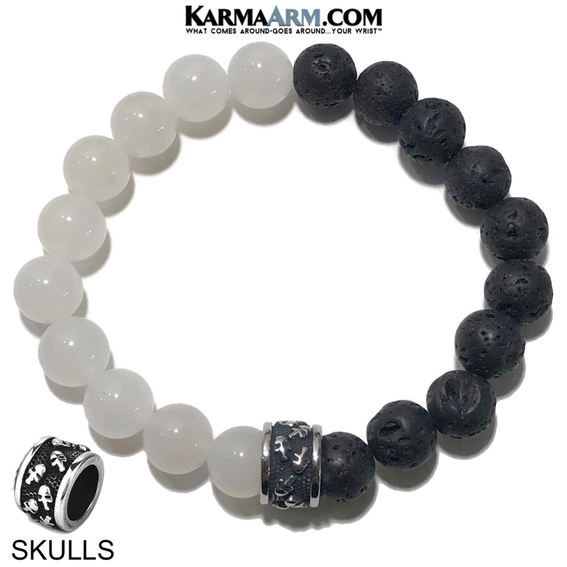 Skull Yoga Bracelet. Meditation Self-Care Wellness Wristband Zen bead mala Jewelry.  White Jade Lava.