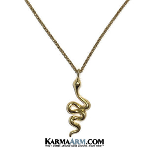 Snake Charm Necklace, Gold Stainless Steel Jewelry.