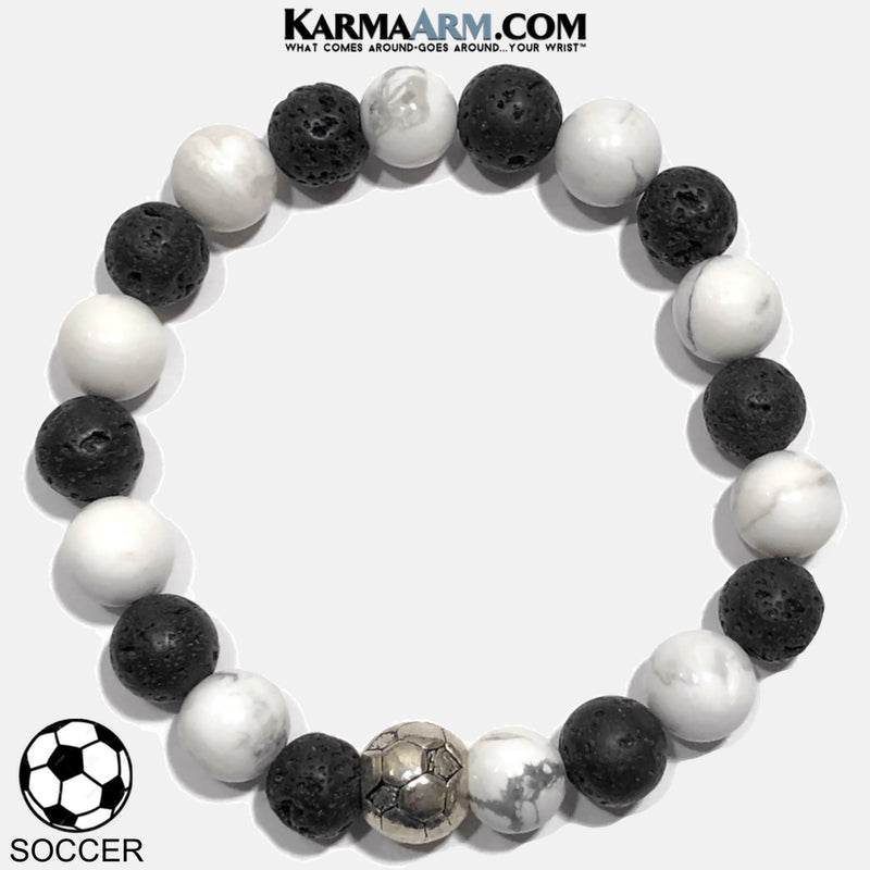 Soccer Football Yoga Bracelet. Self-Care Wellness Wristband White Turquoise. Lava.