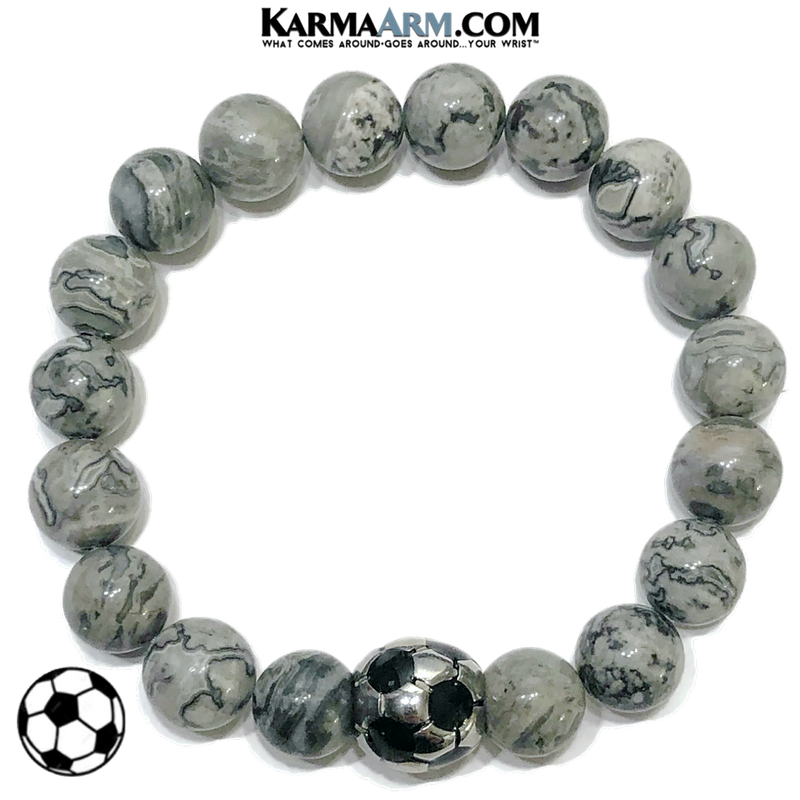 Soccer Football Meditation Self-Care Wellness Mantra Yoga Bracelet. Bead Wristband. Crazy Lace Agate.