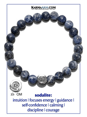 Sodalite. Yoga Meditation OM bracelets. self-care wellness mens bead wristband jewelry.