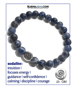 Sodalite. Yoga OM Meditation bracelets. self-care wellness mens bead wristband jewelry.