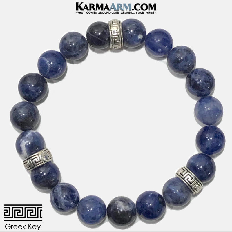 Sodalite Greek Key Meditation Mantra Yoga Bracelet. Self-Care Wellness Wristband Zen bead mala Jewelry.
