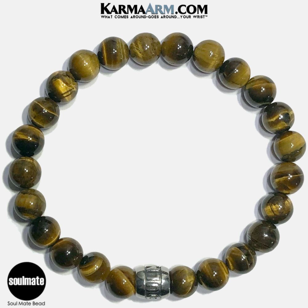 Soul Mate Soulmate Meditation Mantra Yoga Bracelets. Self Care Wellness Wristband Jewelry. Tiger Eye.