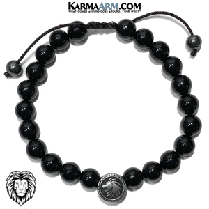 Spirit Animal Lion Meditation Yoga Bracelet. Mens Self-Care Wellness Wristband Jewelry. Black Onyx.