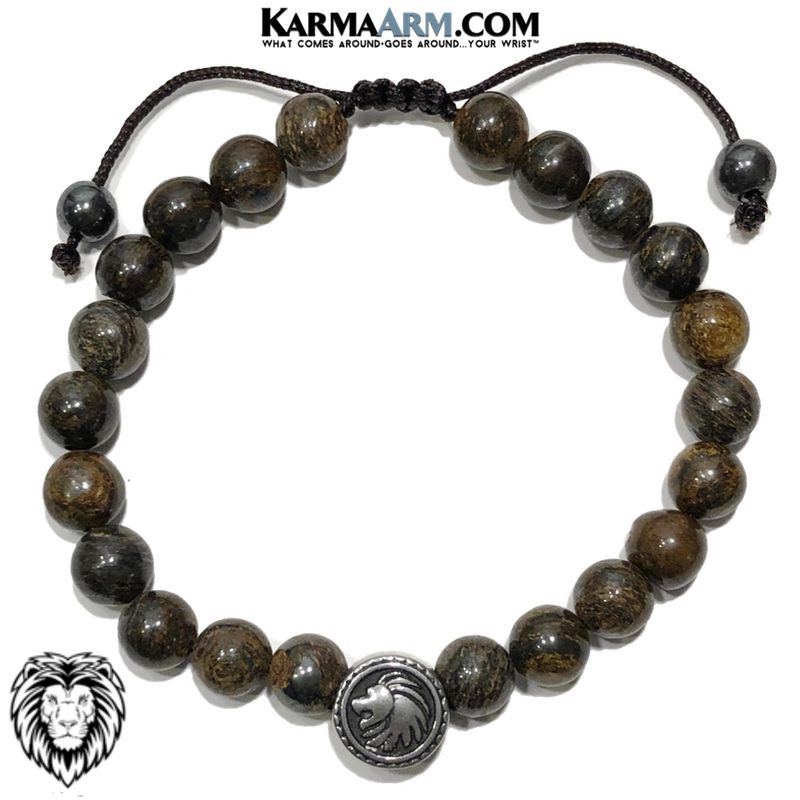 Spirit Animal Lion Meditation Yoga Bracelet. Mens Self-Care Wellness Wristband Jewelry. Bronzite.