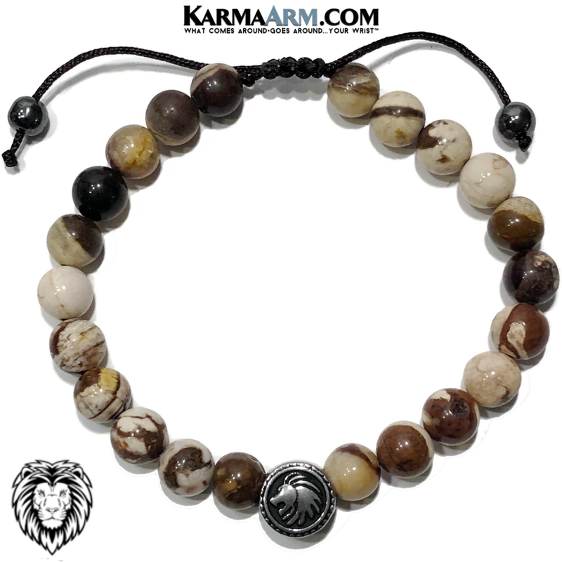 Spirit Animal Lion Meditation Yoga Bracelet. Mens Self-Care Wellness Wristband Jewelry. Brown Zebra Jasper.