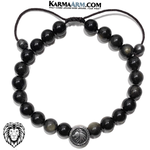 Spirit Animal Lion Meditation Yoga Bracelet. Mens Self-Care Wellness Wristband Jewelry. Golden Obsidian.