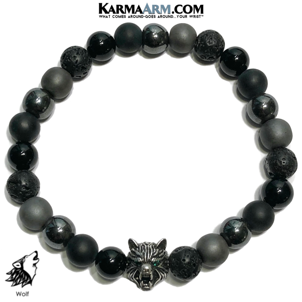 Spirit Animal Wolf Meditation Self-Care Wellness Mantra Yoga Bracelets. Mens Wristband Jewelry. lava Onyx Hematite.