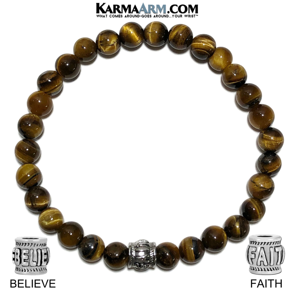 Spiritual Faith Meditation Self-care wellness Mantra Yoga Bracelets. Mens Wristband Jewelry. Tiger Eye.