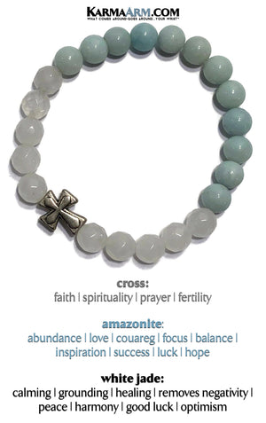 Spiritual Yoga Bracelets. beaded mens meditation wristband jewelry. White Jade Amazonite Cross.