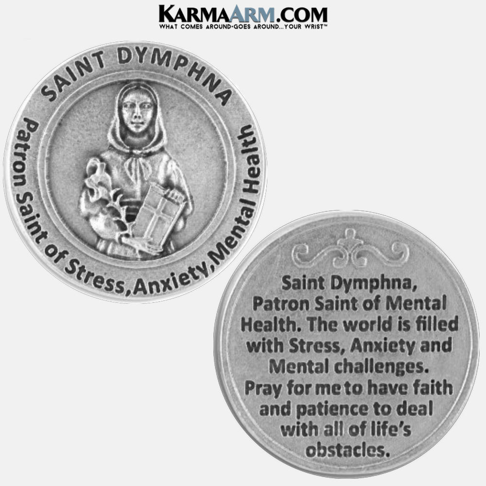 St. Dymphna Necklace | Patron Saint of Stress, Anxiety and Mental Health | Miracle Medal Pocket Token. Healing Saints | Prayer Tokens.  Lucky Poker Pocket Tokens.  Inspirational coins.
